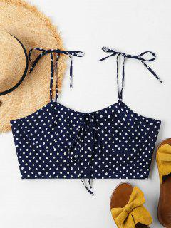 Polka Dot Cami Tied Crop Top - Deep Blue S