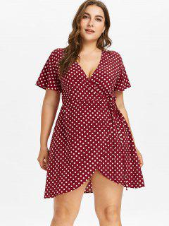 Robe Portefeuille Grande Taille à Pois - Vin Rouge 4x
