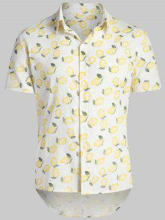 Lemon Print Hawaii Beach Shirt - Warm White L
