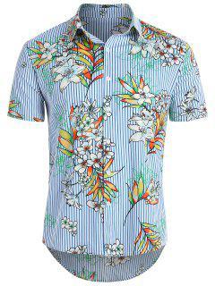Striped Flower Hawaii Shirt - Ocean Blue M