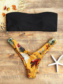 Bandeau Top And Floral High Cut Swim Bottoms - Black L
