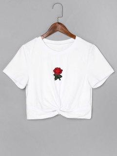 Rose Embroidered Twist Crop Tee - White M