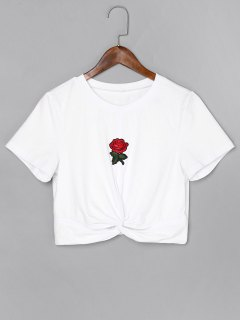 Rose Embroidered Twist Crop Tee - White L