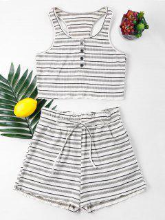 Stripe Racerback Knit Shorts Set - White Xl