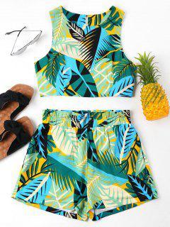 Conjunto De Pantalones Cortos Sin Mangas Con Estampado De Hojas - Multicolor Xl