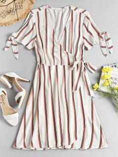 Striped Tie Sleeve Wrap Dress - Warm White M