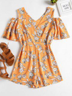 Surplice Cold Shoulder Romper - Beer L