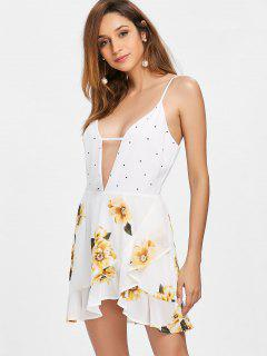 Dotted Floral Patched Dress - Milk White S
