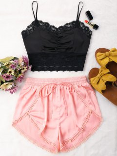 Contrast Lace Trim Cami Shorts Set - Black M