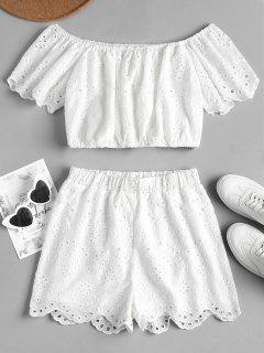 Conjunto De Pantalones Cortos De Ojal De Hombro - Blanco M