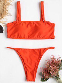 Trapez Ausgeschnitten Knoten String Bikini - Papaya Orange L