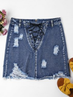 Lace-up Distressed Denim Skirt - Windows Blue M