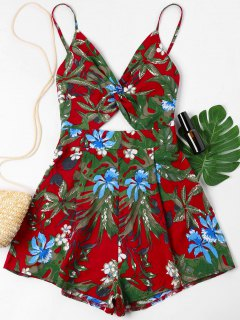 Tropical Print Twist Cami Romper - Love Red M