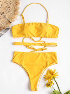 Hohes Bein Kreuz Halter Bikini - Helles Gelb L