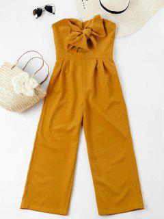 Bowknot Tube High Waisted Jumpsuit - Mustard L