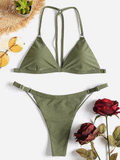Strappy Back String Bikini Set - Camouflage Green S