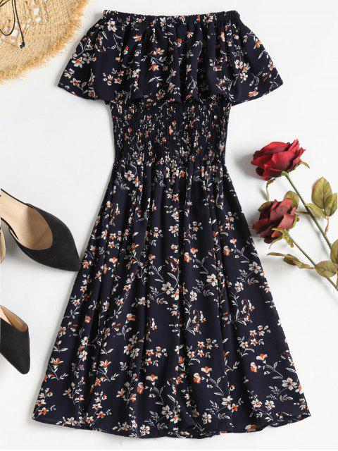 buy Floral Smocked Bodice Strapless Dress - MIDNIGHT BLUE M Mobile