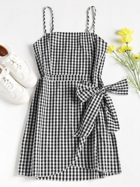 fancy Overlap Gingham Slip Dress - BLACK M Mobile
