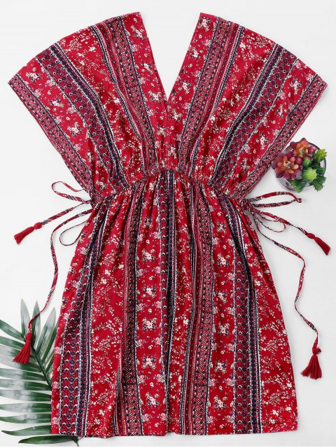 ladies High Waist Printed Bohemian Dress - RED L Mobile