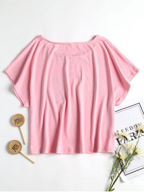 hot Banana Relaxed Boxy Fit Crop Tee - LIGHT PINK M Mobile