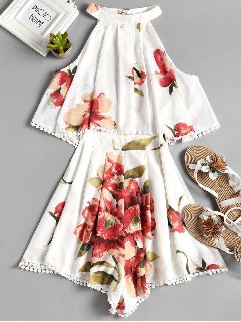 trendy Sleeveless Overlay Floral Romper - WHITE L Mobile
