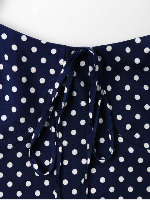 fancy Polka Dot Cami Tied Crop Top - DEEP BLUE XL Mobile