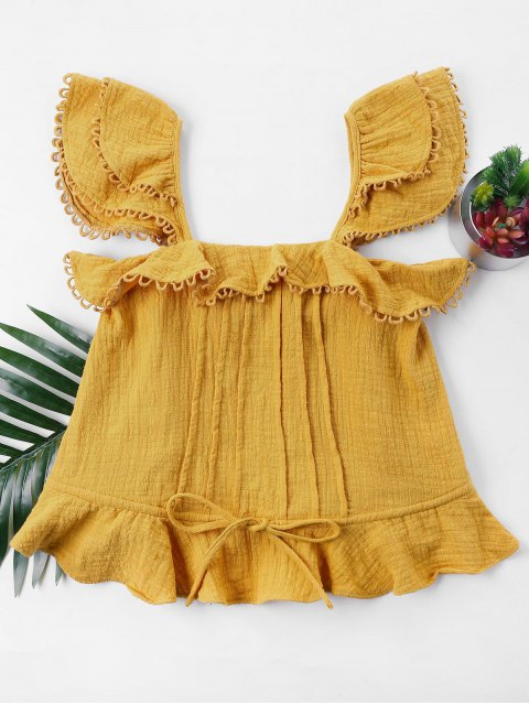 buy Ruffles Sleeveless Blouse - BEE YELLOW L Mobile