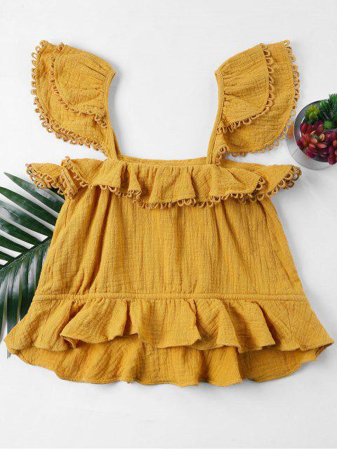 womens Ruffles Sleeveless Blouse - BEE YELLOW XL Mobile