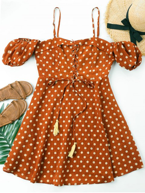 shop Polka Dot Lace Up Dress - CHESTNUT RED M Mobile