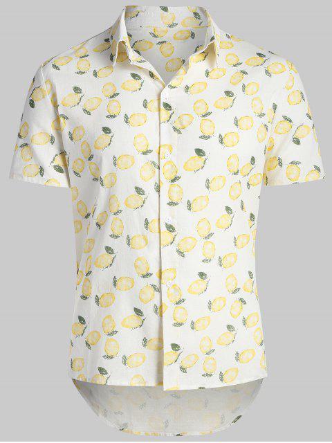 online Lemon Print Hawaii Beach Shirt - WARM WHITE 2XL Mobile