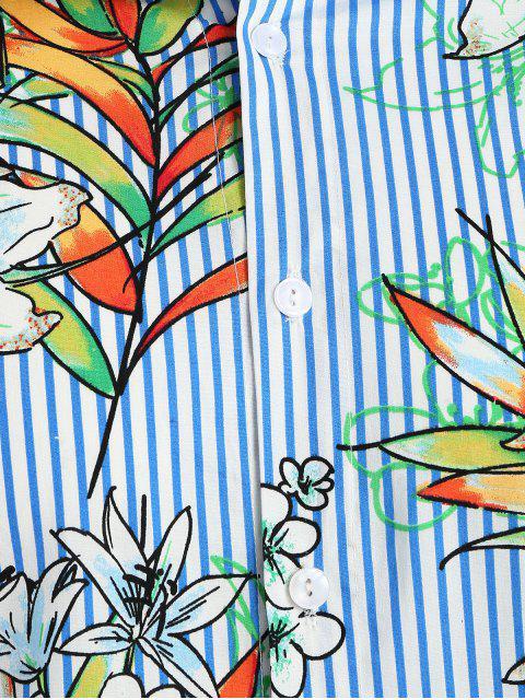 shop Striped Flower Hawaii Shirt - OCEAN BLUE 2XL Mobile