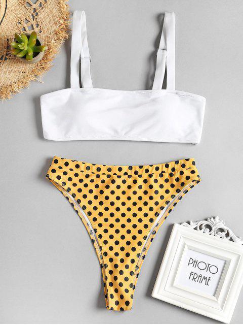 Conjunto de bikini de talle alto con lunares - Amarillo de Maíz M Mobile