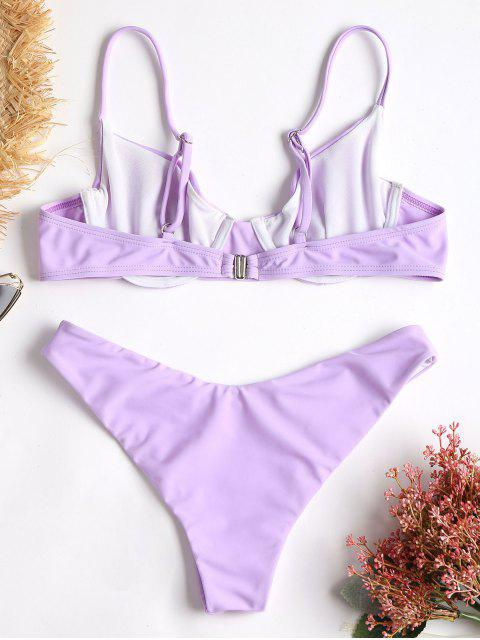 fancy Cami High Cut Bikini - MAUVE S Mobile