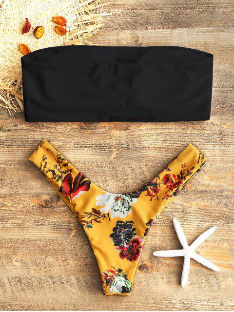 Топ Цветочный принт Высокий вырез Трусы Для плавания - Чёрный S Mobile