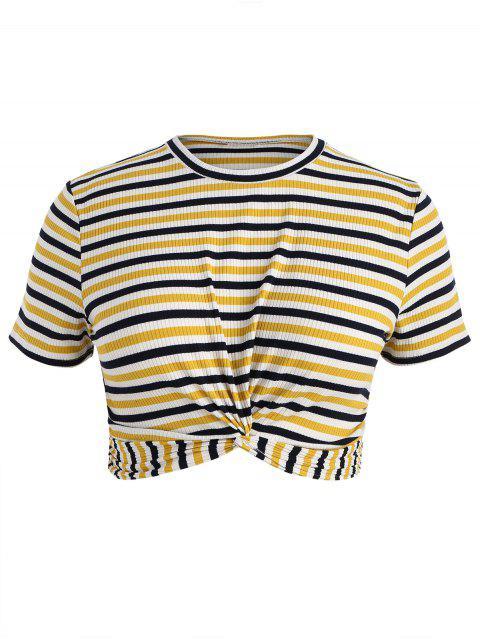 Plus Größes Streifen Twist T-Shirt - Multi 4X Mobile
