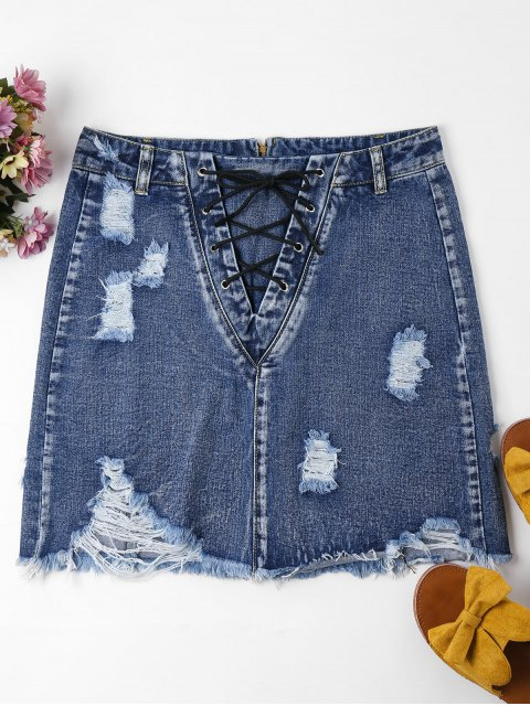 latest Lace-up Distressed Denim Skirt - WINDOWS BLUE XL Mobile