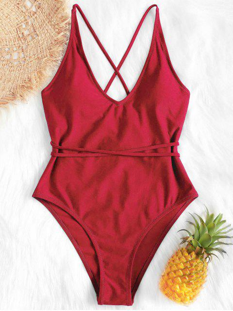 best Self Tie Cross Back High Cut Swimsuit - RED M Mobile