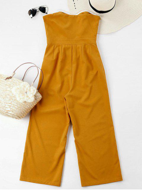 best Bowknot Tube High Waisted Jumpsuit - MUSTARD S Mobile