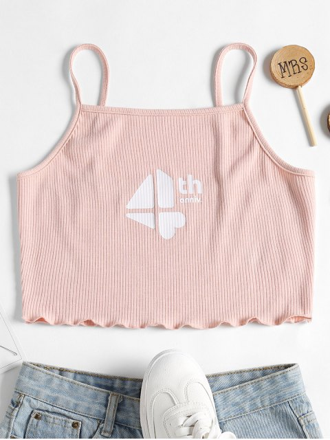 ladies Anniversary Cami Ribbed Crop Top - LIGHT PINK M Mobile