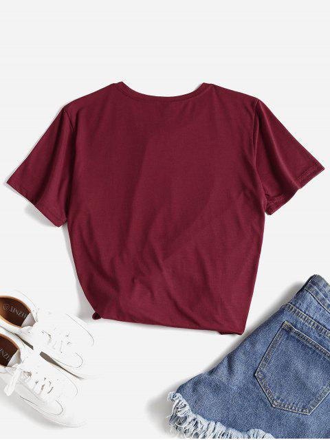 chic Letter Graphic Slogan Tee - RED L Mobile