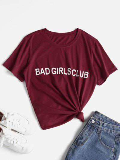 Letter Graphic Slogan Tee - Red M