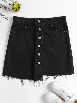 Asymmetrical Button Up Denim Skirt - Black M