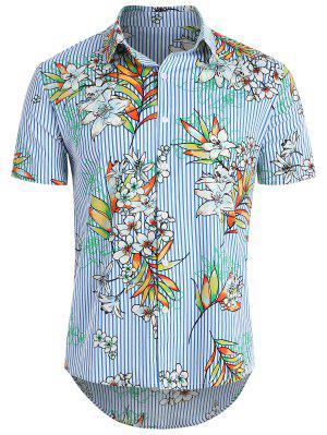 Camisa a rayas de Hawaii con flores