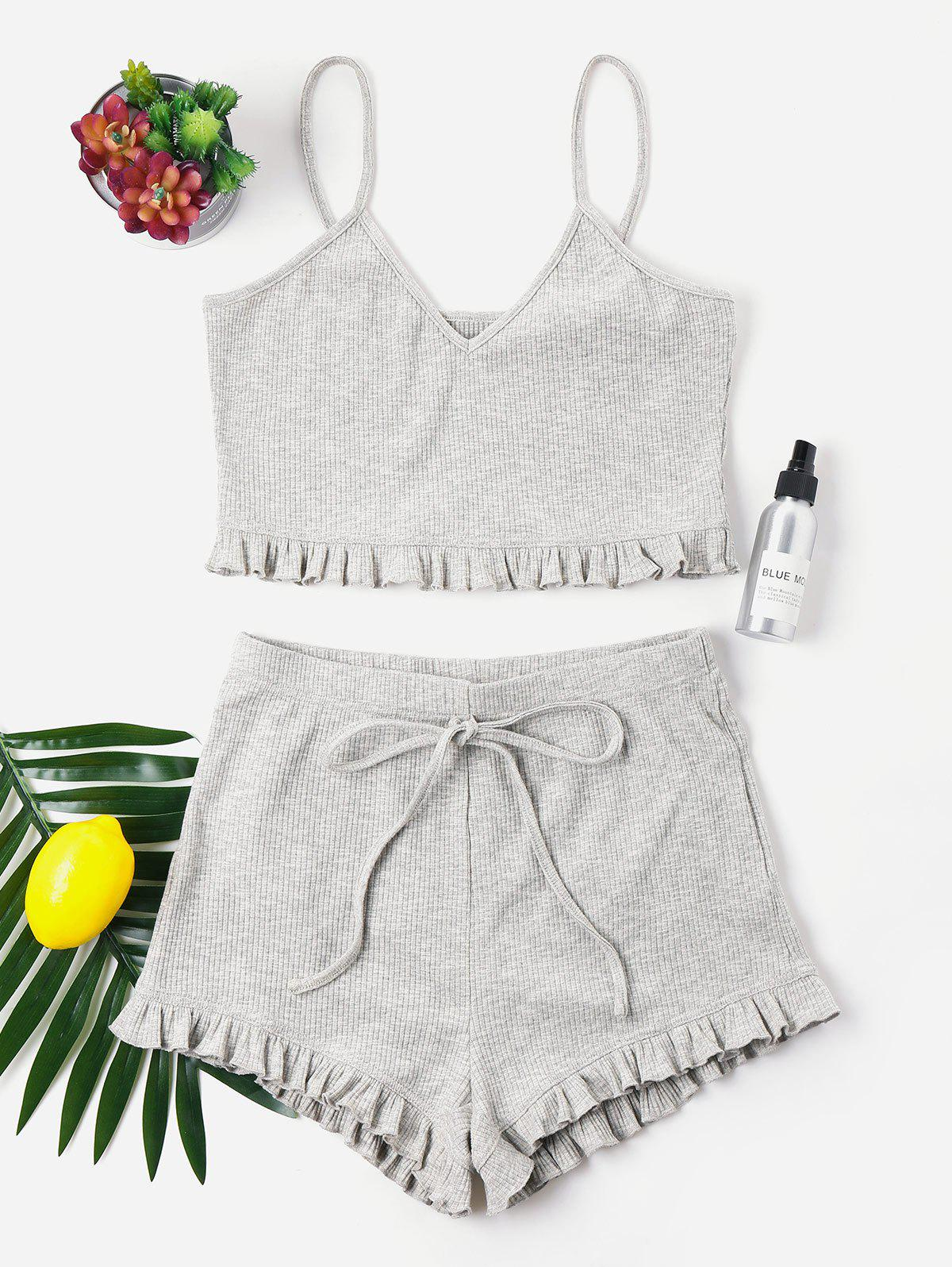 Knit Frill Trims Cami Shorts Set