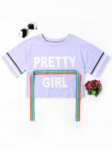 De Color Print Rainbow M Camiseta Ribbon Estampada Malva x7qXcS1