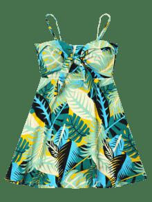 Estampado Vestido De Multicolor S Cami Anudado Tropical wqFC1pgUq