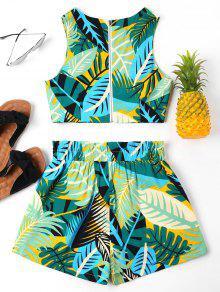 Con De Multicolor Mangas Pantalones Hojas Cortos Estampado M De Conjunto Sin XBRHqH