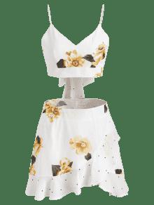 Falda Floral De Conjunto S Lunares A Blanco x7P1wn