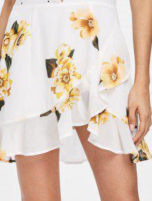 Punteado S Parcheado Blanco Floral Vestido qnvA6gx