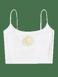 Blanco Cami Camiseta Mangas M Bordada Sin aWfTc